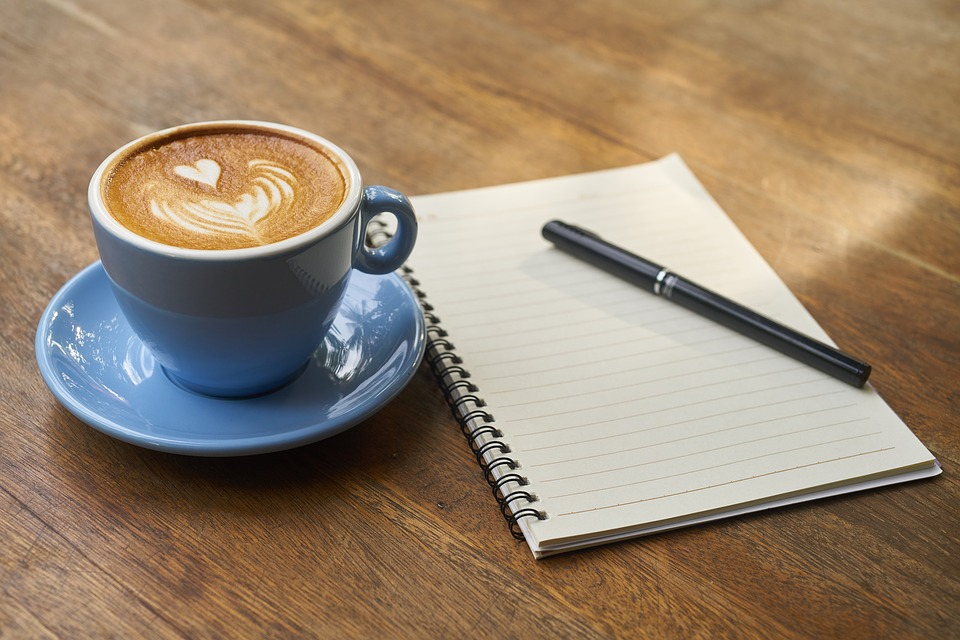 focus on you with a warm latte and journal